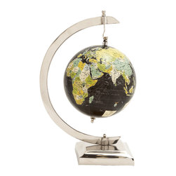 Slick and Stylish Aluminum PVC World Globe - Description: