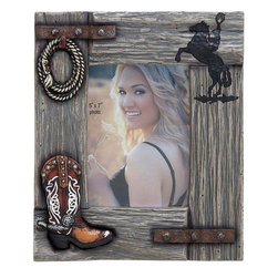 Benzara - Designed Picture Frame 5X7 with a Natural Wood Finish - Display your memories proudly and in an elegant way with this wonderfully designed picture frame. There are a couple of metal clamps fixed on the sides holding the frame together. The stylishly displayed rope, cowboy shoe, and an elegant posture of a cowboy on a horse complete the style quotient. Patterned in a classical fashion, it comes with a natural wood finish that give a rugged and exciting look. The frame enhances the visual appeal and beautifully highlights the image that you want to display. The frame segments are neatly joined together and can be placed with grace and poise at any table top or shelf. Enclosed inside the frame is the convenient space in, which you can insert the photo and keep it safely for perpetual display. The frame is accented with features that bring out the cowboy theme to further add to the attraction.