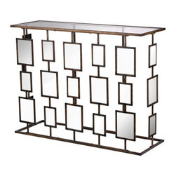 """Sterling Industries - Sterling Industries 138-145 1950s Sculpture Inspired Tables in Bronze - Standing 47"""" Wide And Reminiscent Of 1950'S Popular Sculpture Each Front Panel Is Mirrored And Framed In Hand Painted Bronze Metal. The Top Is Clear Glass."""
