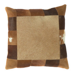 "Surya PMH118-1818P 100% Leather 18"" x 18"" Decorative Pillow - This pillow brings a western feel to any room with its animal hide design. Colors of caramel and brown accent this decorative pillow. This pillow contains a poly fill and a zipper closure. Add this 18"" x 18"" pillow to your collection today. Filler: Poly Fiber. Shape: Square"