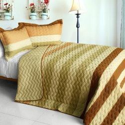 Blancho Bedding - [Sweet Soil] 3PC Patchwork Quilt Set (Full/Queen Size) - Features intricate hand-stitching patterns with timeless appeal. Creates a cozy and inviting atmosphere and is sure to transform the look of your bedroom. Gives the finishing touch to your room decor; Enjoy a good night's sleep in a luxurious quilt set. Pre-washed, pre-shrunk, reversible and vermicelli-quilted for elegance and durability. Soft materials and high tenacity; Concentrated stitches; Machine washable and dryable.