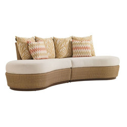 Lexington - Tommy Bahama Aviano Armless Sofa Sectional - The dramatic butterfly silhouette is comprised of symmetrical left and right seating units joined in the back by a single vertical connector. The left and right seating units accommodate separate cushion sets that include two 22-inch throw pillows and one 18-inch throw pillow each. None of the three units may be used separately.