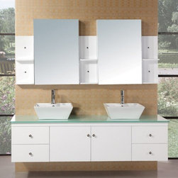 """Design Elements LLC - Portland 72"""" Double Sink - Wall Mount Vanity Set in White - The 71"""" Portland white vanity set is elegantly constructed of solid hardwood. The tempered glass countertop brings a clean and contemporary look to any bathroom. Seated at the base of the two ceramic vessel sinks are chrome finish pop-up drains, designed for easy one-touch draining. Two mirrored medicine cabinets and three shelving sets are included. The vanity features four pullout drawers and a double-door cabinet all adorned with satin nickel hardware."""