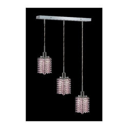 Elegant Lighting - Mini Rosaline Crystal Pendant w 3 Lights in Chrome (Royal Cut) - Choose Crystal: Royal Cut. 3 ft. Chain/Wire Included. Bulbs not included. Crystal Color: Rosaline (Pink). Chrome finish. Number of Bulbs: 3. Bulb Type: GU10. Bulb Wattage: 55. Max Wattage: 165. Voltage: 110V-125V. Assembly required. Meets UL & ULC Standards: Yes. 14.5 in. D x 8 to 48 in. H (8lbs.)Description of Crystal trim:Royal Cut, a combination of high quality lead free machine cut and machine polished crystals & full-lead machined-cut crystals..SPECTRA Swarovski, this breed of crystal offers maximum optical quality and radiance. Machined cut and polished, a Swarovski technician¢s strict production demands are applied to this lead free, high quality crystal.Strass Swarovski is an exercise in technical perfection, Swarovski ELEMENTS crystal meets all standards of perfection. It is original, flawless and brilliant, possessing lead oxide in excess of 39%. Made in Austria, each facet is perfectly cut and polished by machine to maintain optical purity and consistency. An invisible coating is applied at the end of the process to make the crystal easier to clean. While available in clear it can be specially ordered in a variety of colors.Not all trims are available on all models.