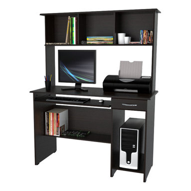 """Inval America - Computer Workcenter with Hutch - Functional modern design is an excellent choice for home or office, in elegant Espresso-Wenge laminates.; Laminated in double-faced durable melanine which is stain, heat and scratch resistant. ; Solid engineered wood P2 standard, coming from well managed forests.; Slide-out keyboard tray. Designed to hold computer keyboard and mouse.; Hutch provides ample space for storage.; Dedicated area for CPU tower.; One (1) box drawer with metal handle.; Unit Weight: 87.9 lbs.; Requires to be assembled by two people; Dimensions: 47.25"""" W x 19.69"""" D x 61.81"""" H"""