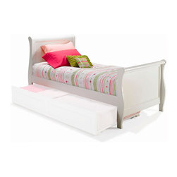 Atlantic Furniture - Sleigh Platform Bed / Matching Footboard / White, Full - Traditional in its beauty, it is also modern with its adjustable height frame that can accept our underbed storage drawers or trundle, making this a perfect bed for your little ones room.
