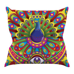 """Kess InHouse - Roberlan """"Peacolor"""" Rainbow Peacock Throw Pillow (16"""" x 16"""") - Rest among the art you love. Transform your hang out room into a hip gallery, that's also comfortable. With this pillow you can create an environment that reflects your unique style. It's amazing what a throw pillow can do to complete a room. (Kess InHouse is not responsible for pillow fighting that may occur as the result of creative stimulation)."""