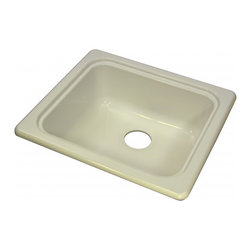"Lyons - Lyons Deluxe DKS09F-3.5 Acrylic Kitchen Sink - Lyons Industries single Bowl Biscuit acrylic Recreational Vehicle-Motor Home sink with a 7"" deep bowl and a 3.5"" drain opening. This standard self rimming 18""X 20"" sink is easy to install. This sturdy sink has durable easy to clean high gloss acrylic construction with a fiberglass reinforced insulation backer. This sink is quiet and provides a superior heat retention than other sink materials meaning your water stays warm longer. Lyons sinks come with a simple mounting tab and clip system to firmly fasten the sink to the countertop and reinforced drain areas. Detailed installation instructions include the cut-out specifications. Lyons sinks are proudly Made in America by experienced artisans supporting our economy."