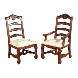 MBW Furniture - Mahogany Ladder Back Gold Dining Chairs Set (8) - This product is finely constructed from top grade kiln-dried. Its superb quality will add a touch of elegance to your home.