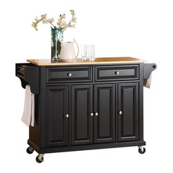 Crosley Furniture - Natural Wood Top Kitchen Cart/Island in Black - Beautiful Raised Panel Doors. Brushed Nickel Hardware. Total of Three Adjustable Shelves Inside Cabinet. Spice Rack with Towel Bar. Towel Bar / Paper Towel Holder. Solid Wood Top with Natural Finish. Solid Hardwood & Veneer Construction. 36 in. H x 52 in. W x 18 in. D (106.5 lbs.)Constructed of solid hardwood and wood veneers, this mobile kitchen cart is designed for longevity. The beautiful raised panel doors and drawer fronts provide the ultimate in style to dress up your kitchen. Two deep drawers are great for anything from utensils to storage containers. Behind the four doors, you will find adjustable shelves and an abundance of storage space for things that you prefer to be out of sight. The heavy duty casters provide the ultimate in mobility. When the cabinet is where you want it, simply engage the locking casters to prevent movement. Style, function, and quality make this mobile kitchen cart a wise addition to your home.