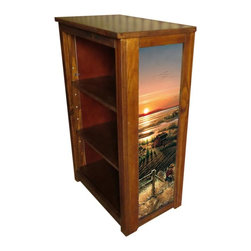 Kelseys Collection - Book cabinet 3 shelf  Best Friends - Book cabinet in solid pine features three adjustable storage shelves with two giclee prints on the side panels, showcasing Terry Redlin artwork. The giclee print have three coats of UV inhibitor.Dimensions are 33BY22BY12 Net weight 20 pounds. Three adjustable shelves. Estimated assembly time 20 minutes.