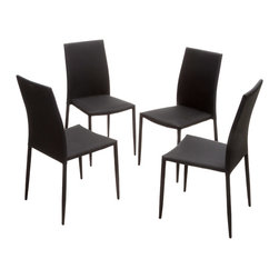 Great Deal Furniture - Baxley Fabric Dining Chairs, Black, Set of 4 - The Baxley Dining Chairs offer a modern look with the unique twist of a steel tube frame. These sleek chairs can function as dining chairs or accent pieces and will compliment any decor in your home