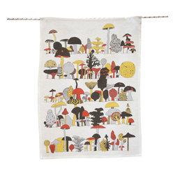 makelike design - Tea Towel, Fungus Among Us - This five-color tea towel is hand-screen-printed using water-based inks on 100% European linen.