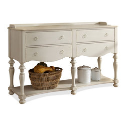 """Horchow - Coventry Buffet - HONEYSUCKLE WHITE - Coventry BuffetDetailsBuffet with turned legs and shapely apron brings casual simplicity and coastal charm to the dining room. Handcrafted of acacia wood and engineered hardwood.Hand-painted finish.Four felt-lined drawers with ball-bearing extension guides.Fixed bottom shelf.Tip-restraining hardware.Base levelers.62""""W x 19""""D x 30""""T.Imported.Boxed weight approximately 130 lbs. Please note that this item may require additional delivery and processing charges."""