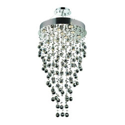 Lighting By Pecaso - Bernadette Hanging Fixture D20 H36 Lt:9 Chrome Finish - ChainWire Incuded  6 ft, Bulb Type GU10, Bulb Wattage 50, Max Wattage 450, Voltage 110V125V, Finish Chrome, UL  Ulc Standard  YES, UL  Ulc Standard  YES