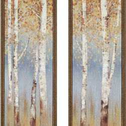 Paragon Decor - Birch Trees Set of 2 Artwork - Prints are textured and dimensionally framed in washed gold finish molding.