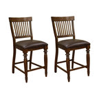 American Heritage - American Heritage Delphina Counter Stool (Set of 2) - The American Heritage Delphina Antique Birch Counter Stool - 126871ANBI is crafted of solid wood and features a brown vinyl seat as well as a slate back design that is contoured for comfort. The American Heritage Delphina Antique Birch Counter Stool - 126871ANBI is finished in antique birch with heavy distressing.