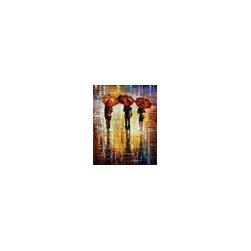 Leonid Afremov - Three Red Umbrellas -Palette Knife Oil Painting On Canvas By Leonid Afremov - Oil painting on canvas
