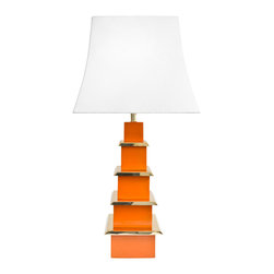 """Jonathan Adler - Jonathan Adler Pagoda Orange Table Lamp - Jonathan Adler's Pagoda orange table lamp exudes a dash of Eastern inspiration. Architectural detailing and brass accents lend the tiered metal light fixture eye-catching glamour. 36.4""""H; Powder coated metal; Brass; Oversized natural linen shade; Accepts one 100W, type A bulb (not included)"""