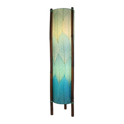 "Lamps Plus - Asian Eangee Hue Series Sea Blue Cocoa Leaves Tower Floor Lamp - The striking shade of this floor lamp is made of cocoa leaves that have been put through a labor-intensive process of fossilization. The leaves are then stained in organic dyes and sealed. The wrought iron frame is powder coated and the legs are made of real bamboo which is hand-stained and bound with twine. A distinctive addition to any decor. Powder coat finish. Wrought iron frame. Fossilized cocoa leaf shade. Takes two 40 watt bulbs (not included). On-off foot switch. 11"" wide. 48"" high.  Wrought iron frame.   Powder coat finish.   Fossilized cocoa leaf shade.   Takes two 40 watt bulbs (not included).   On-off foot switch.   Artisan made.  Design by eangee Home Design.  48"" high.  11"" wide."