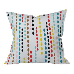 DENY Designs - Khristian A Howell Nolita Drops Throw Pillow, 20x20x6 - What could be fresher than adding this pillow to your sofa, bed or bench? Marquise-shaped drops printed in crayon colors float in bands across the pure, go-with-anything white woven polyester. You won't want to toss this pillow; you'll want to hold it tight.