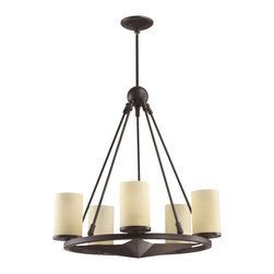 Quorum International - Quorum International 6128-5-44 Lone Star Sienna 5 Lt Chandelier - Quorum International 6128-5-44 Lone Star Toasted Sienna 5 Light Chandelier