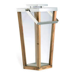 Kathy Kuo Home - Aiken Modern Wood Glass Tall Candle Lantern - S - Herald your outdoors with minimalist candle lanterns. These tall architectural structures, crafted from brass, wood and glass, signal a warm welcome to friends. They will be transported upon arrival.