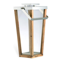 Aiken Modern Wood Glass Tall Candle Lantern, Small