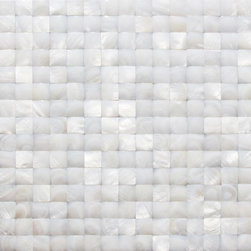 "Nacre White 3d Pearl Tile - Nacre White 3D Pattern Glass Tile This captivating mother of pearl tile in white is artifully arranged in a 3D Square pattern. The pearl shell will add a durability and lasting exquisitness to your kitchen, or fireplace installation. These tiles are mesh mounted and will bring a sleek and contemporary clean design to any room. This tile in particular does not require grout. Chip Size: 20mm x 20mm Color: White Material: Pearl Shell Glass Finish: Polished Sold by the Sheet - each sheet measures 12"" x 12"" (1 sq. ft.) Thickness: 2 mm Please note each lot will vary from the next. This tile is not recommended to be installed in a shower, shower floor or pools."