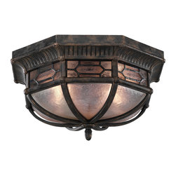 Fine Art Lamps - Devonshire Outdoor Flush Mount, 414882ST - When something this beautiful is beating a path to your front door, you should let it in. This flush-mount outdoor light fixture features an antique bronze finish with subtle gold accents. The textured, seeded glass panels enclose two bulbs that let the light — and your stylish side — shine.