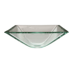 Kingston Brass - Crystal Glass Vessel Bathroom Sink without Overflow Hole - This 3/4in. thick square tempered glass sink is well-designed for that modern bathroom look. The body is durable and has a 5-1/8in. depth with a 14-3/8in. diameter providing more than enough space for washing and water containment. The glass is scratch-resistant and features a contemporary state-of-the-art look with your indoor setting.