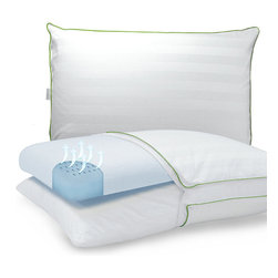 Frontgate - Dual Comfort Bed Pillow - Delivers the optimal sleep system for a better night's rest. Removable cotton pillow protector. Gusset sides and corded detail. Our Dual Comfort Bed Pillow incorporates a super open-cell, gel-infused, pressure-relieving Sensor-FOAM memory foam insert with our integrated iCOOL technology system on one side, and a lofty Softloft polyester fiber pillow on the other. . . .