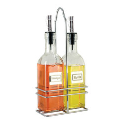 Cuisinox - Cuisinox Oil & Vinegar Bottle Set with Caddy - Dress it up a notch with these gourmet bottles. A must for your favorite olive oils and specialty vinegars. Use them for food preparation or directly on your table. The bottles have stainless steel pouring spouts with plastic caps secured to the spouts. This set features frost striped stylish glass bottles inserted into a handy caddy.