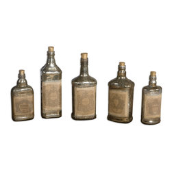 Uttermost - Recycled Bottles Set/5 - You're known for collectibles with unique flair, and this set belongs in your cache. Recycled bottles with the mottled gleam of mercury glass add an old-world touch wherever you arrange them.