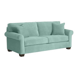 Apt2B - Lafayette Apartment Size Sofa, Blue, 62x38x32 - A cozy, puffed sofa is just what you need to make your apartment feel homey, and this one is sized just right for your smaller space. Simply styled and available in several soft neutral shades (plus a fab retro blue-green), it's sure to fit right in to your room, your decor and your life.