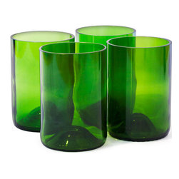Bottles & Wood - Wine Bottle Tumbler Glasses - (Set of 4), Green - These beautiful wine bottle tumbler glasses are a great gift for the wine drinker on your gift list. The resilient bottles are carefully crafted by local artisans to create these rugged glasses that will stand up to all the toasts you can come up with. Cheers!