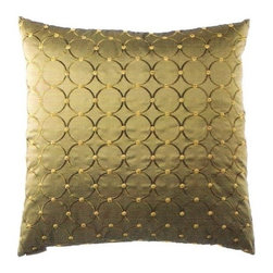 "Canaan - 24"" x 24"" Caprica Antique Circles Pattern Throw Pillow with Insert and Cover - Caprica antique circles pattern throw pillow with a feather/down insert and zippered removable cover. These pillows feature a zippered removable 24"" x 24"" cover with a feather/down insert. Measures 24"" x 24"". These are custom made in the U.S.A and take 4-6 weeks lead time for production."