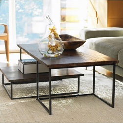 VivaTerra - Railroad Tie Coffee Table Duo - We are constantly being asked where to find beautiful reclaimed wood and metal coffee tables like these. Vivaterra has one of my favorite pairs, that are reclaimed railroad ties-made from teak, pine, and ironwood and given a waxed finish Bonus: The pair can be separated or nested together.