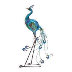 BZBZ55224 - Italian Styled Metallic Finish Peacock Decor - Italian Styled Metallic Finish Peacock Decor. Give your room vibrant hues of blue and original beauty of the peacock with this stylish Italian piebald peacock decor. Some assembly may be required.