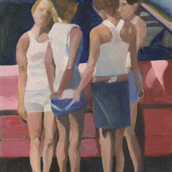 """""""Demoiselles de Ross Park Mall"""" Artwork - A group of young women of the 21st century in a shopping mall North of Pittsburgh take the poses of Picasso's demoiselles d'Avignon.  They are a pattern of soft red white and blue."""