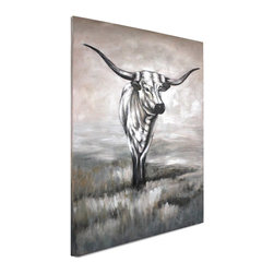 """Vertuu Design - 'Lasting Impression' Artwork - Give your Southwestern decor a modern update with the """"Lasting Impression"""" Artwork. Featuring a wild bull against a gray, white and brown background, this hand-painted acrylic canvas has a soft, but striking look. The subdued color palette offsets the bull's intense gaze. Display it above a mantel or dining room table as a dramatic focal piece."""