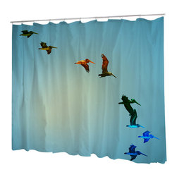 Uneekee - Uneekee Pelicans Shower Curtain - Your shower will start singing to you and thanking you for such a glorious burst of design as you start your day!  Full printing on the front and white on the back.  Buttonhole openings for shower rings.