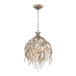 Golden Lighting - Golden Lighting 9903-5P-MG Autumn Twilight 5 Light Pendants in Mystic Gold - Organic branches are sculpted from steel and combined with crystal to create a forest canopy. Cascading crustals are used to romantically diffuse the light. Faceted crystal beads and leaves are amber-tinted and glisten when lit. Mystic Gold finish with layers of antiquing. A chandelier creates a stylish focal point. Comfortably sized for a small dining room or nook.