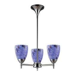 ELK Lighting - Three Light Polished Chrome Starburst Blue Glass Up Chandelier - Three Light Polished Chrome Starburst Blue Glass Up Chandelier