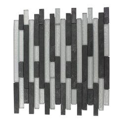 "Geological Tao Black Slate & Silver Glass Tiles - Geological Tao Black Slate + Silver Glass Tiles 1/2 x Random This striking brick pattern design has a combination of black slate and metallic silver glass. These tiles are mesh mounted and will bring a sleek and contemporary clean design to any room. Chip Size: 1/2 x Random Color: Black and Metallic Silver Material: Slate and Glass Finish: Frosted and Polished Sold by the Sheet - each sheet measures 12""x12x (1 sq. ft.) Thickness: 8mm"