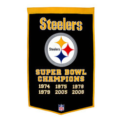 Winning Streak Pennants - Pittsburgh Steelers NFL 24 x 36 Super Bowl Banner - Check out this Awesome wool Super Bowl banner. It features embroidery and appliqued graphics in official team colors. It's perfect for your Man Cave, Game Room, Office or anywhere else you want to show love for your team.