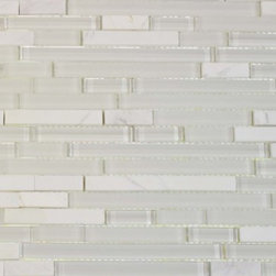 Bestview Glass Mosaic Random Strip White Staccato 201591 -
