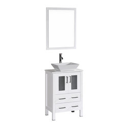"Bosconi - 24"" Bosconi AB124S Single Vanity, White - Form meets function with this chic 24"" glossy white Bosconi vanity. The simple modern lines are accentuated by the ceramic, square vessel sink and perfectly coordinating vanity mirror. Versatile features include a single cabinet with soft closing doors, spacious enough to store all of your accessories and bathroom essentials."