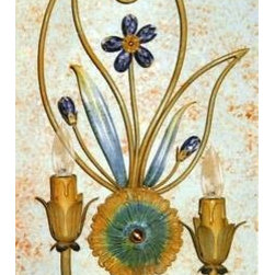Artistica - Hand Made in Italy - Alba Lamp: Wall Light Sconce - Ivory/Blue/Swarovski Blue - Alba Lamp Collection: