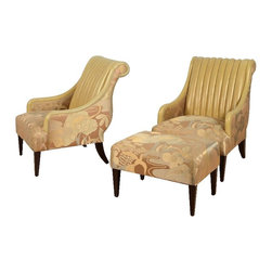 Pair French Art Deco style club chair and ottoman w/Ribbed Leather - Dimensions:L 42''  × W 32''  × H 40''